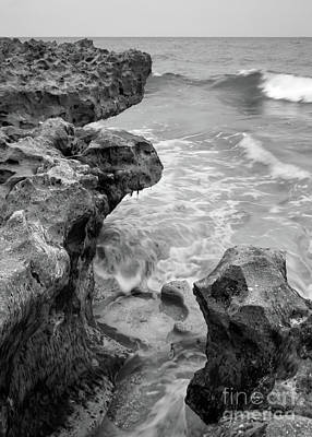 Waves And Coquina Rocks, Jupiter, Florida #39358-bw Art Print