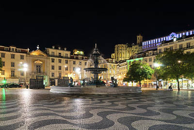 Photograph - Waves And Lights - Rossio Square In Lisbon Portugal At Night by Georgia Mizuleva