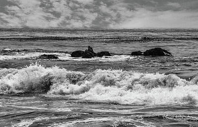 Photograph - Waves And Rocks 3 Bw by Robert Hebert