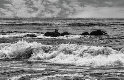 Photograph - Waves And Rocks 3 Bw by Robert Hebert