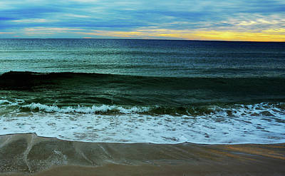 Digital Art - Waves And Sunset by Janet Duffey