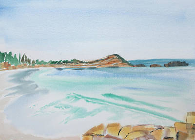 Waves Arriving Ashore In A Tasmanian East Coast Bay Art Print