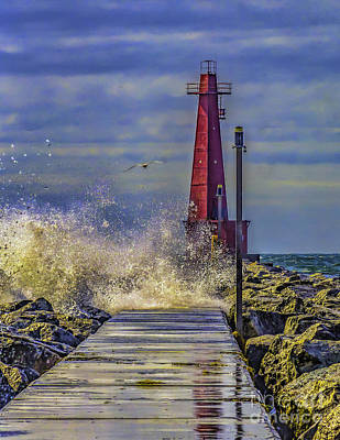 Muskegon Lighthouse Wall Art - Photograph - Waves At Muskegon South Breakwater by Nick Zelinsky