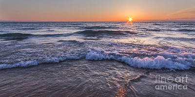 Waves At Sunset On Pierport Beach Panorama Art Print by Twenty Two North Photography