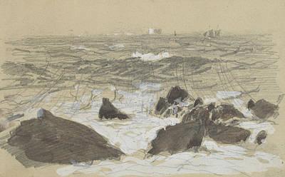Drawing - Waves Breaking On Rocks by John Singer Sargent