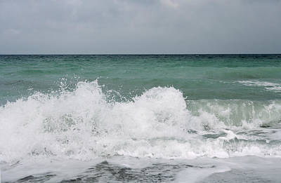 Waves Breaking On Shore And Overcast Sky Art Print