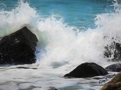 Digital Art - Waves  Breaking Over Rocks. by Rusty R Smith