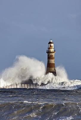 Waves Crashing Against Roker Lighthouse Print by John Short