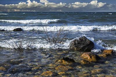 Randall Nyhof Royalty Free Images - Waves crashing ashore at Northport Point on Lake Michigan Royalty-Free Image by Randall Nyhof