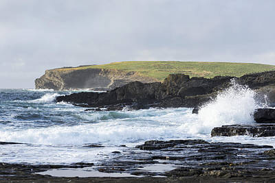Landscapes Royalty-Free and Rights-Managed Images - Waves Crashing Into Rocky Coast by Michael Interisano