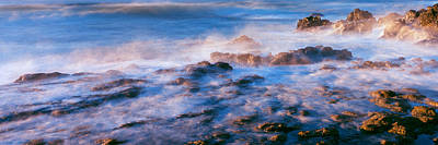 Roca Photograph - Waves Crashing On Rocks During Fog, Las by Panoramic Images