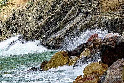 Photograph - Waves Crashing On The Rocks, Vernazza, Cinque Terre, Italy by Global Light Photography - Nicole Leffer