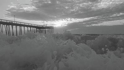 Photograph - Waves Crashing On The Shore Bw by Robert Banach