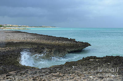 Photograph - Waves Crashing On To Lava Rocks In Aruba  by DejaVu Designs