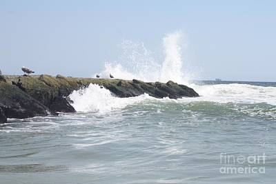 Photograph - Waves Crashing Onto Long Beach Jetty by John Telfer