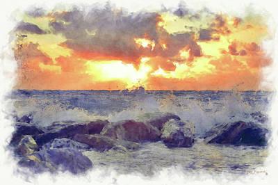 Waves Hit The Rocks Watercolor  Art Print
