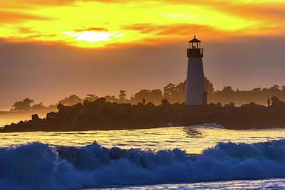 Photograph - Waves Near Walton Lighthouse by Garry Gay
