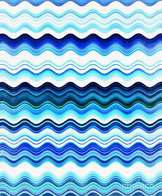 Line Movement Wall Art - Digital Art - Waves Of Blue by Krissy Katsimbras