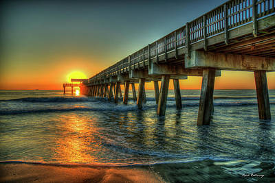 Photograph - Waves Of Sunlight Dawns Early Light Tybee Island Pier Art by Reid Callaway