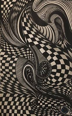 Checkered Pattern Drawing - Waves Of Time by Jad Ghorayeb