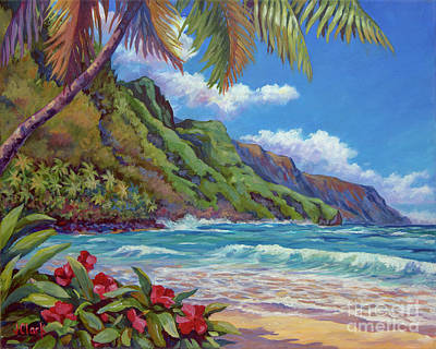 Oahu Painting - Waves On Na Pali Shore by John Clark