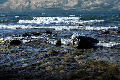 Photograph - Waves On The Lake Michigan Shore by Randall Nyhof