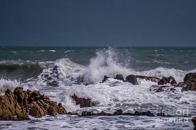 Photograph - Waves On The Rocks by Michelle Meenawong
