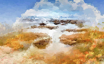 Mixed Media - Waves Over Shoreline Rocks by Clive Littin