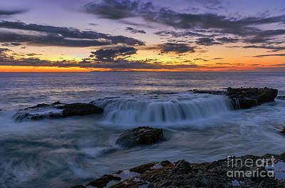 Art Print featuring the photograph Wave Over The Rocks by Eddie Yerkish