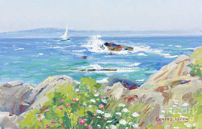 Painting - Waves, Rocks And Flowers by Candace Lovely