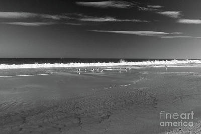 Photograph - Waves, Sand And Gulls Bw by Mary Haber