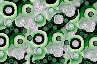 Waves Seashells Foam And Stones In Green Art Print by Jacqueline Migell
