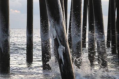 Photograph - Waves Splashing Icicles by Robert Banach