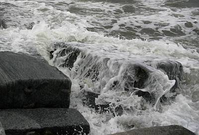 Waves Splashing Stones 2 Art Print