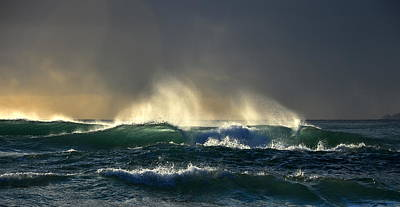 Photograph - Waves, Sun And Moody Sky by Barbara Walsh