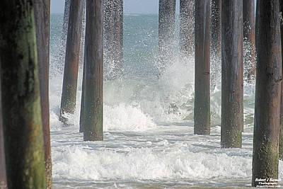 Waves Under The Pier Art Print