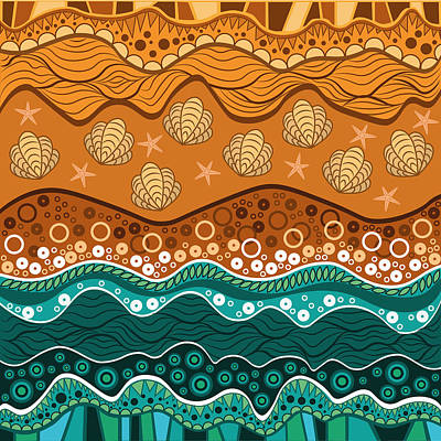 Bright Colours Drawing - Waves by Veronica Kusjen
