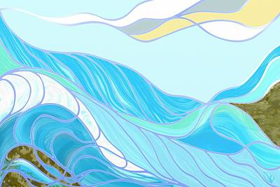 Digital Art - Waves by Victor Shelley