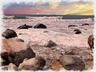 Digital Art - Waves Washing In On A Rocky Beach by Rusty R Smith