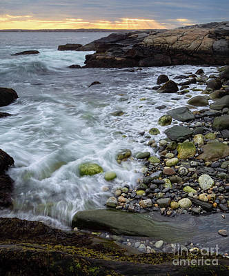 Photograph - Waves Washing Into A Small Cove, Pemaquid Point, Bristol, Me -60104 by John Bald