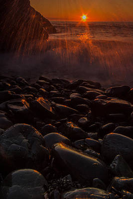 Waves And Sunrise Art Print by William Sanger