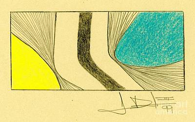 Drawing - Waves Yellow Blue by George D Gordon III