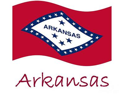 Waving Arkansas Flag And Name Original by Frederick Holiday