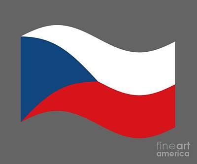 Czech Republic Mixed Media - Waving Czech Republic Flag by Frederick Holiday