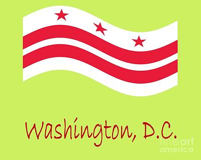 Waving District Of Columbia Flag And Name Original