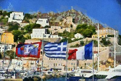 Painting - Waving Flags In Hydra Island by George Atsametakis