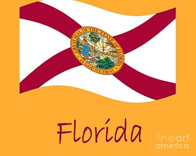Waving Florida Flag And Name Original by Frederick Holiday