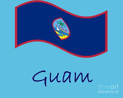 Katharine Hepburn - Waving Guam Flag And Name by Frederick Holiday