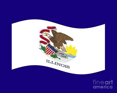 Waving Illinois Flag Original by Frederick Holiday