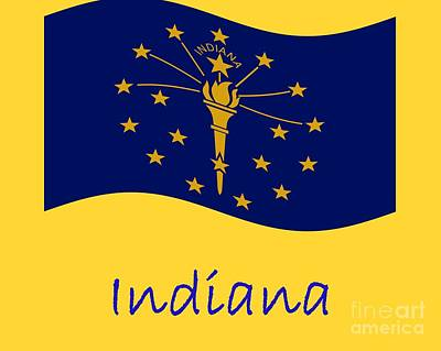 Waving Indiana Flag And Name Original by Frederick Holiday